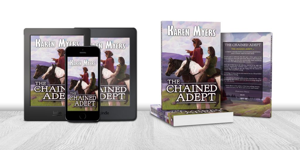 Display of available formats for The Chained Adept, book 1 of The Chained Adept. Written by Karen Myers (HollowLands.com). Published by Perkunas Press (PerkunasPress.com).
