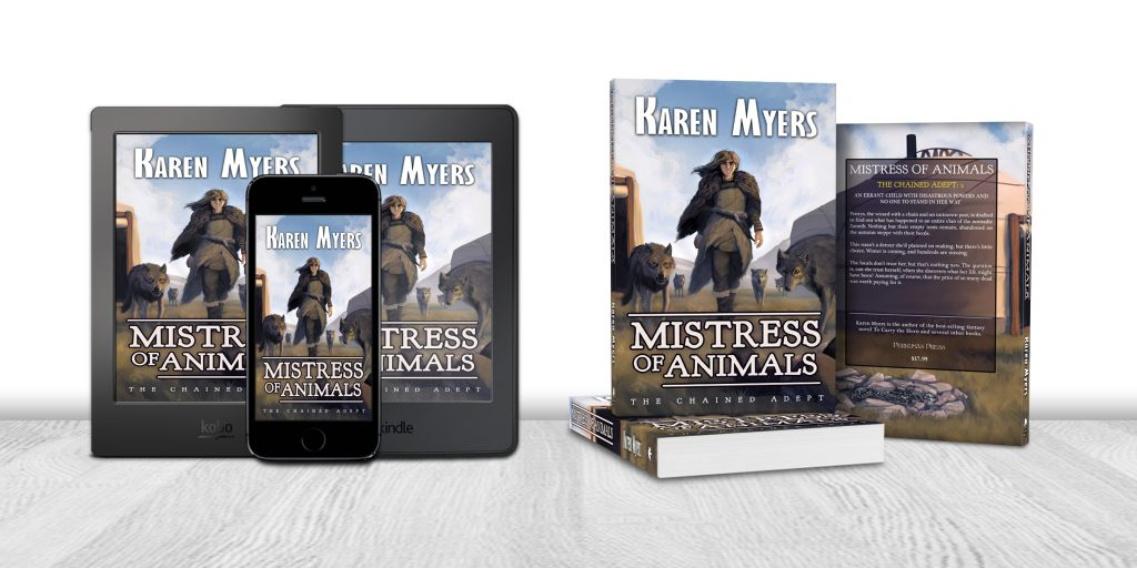 Display of available formats for Mistress of Animals, book 2 of The Chained Adept. Written by Karen Myers (HollowLands.com). Published by Perkunas Press (PerkunasPress.com).
