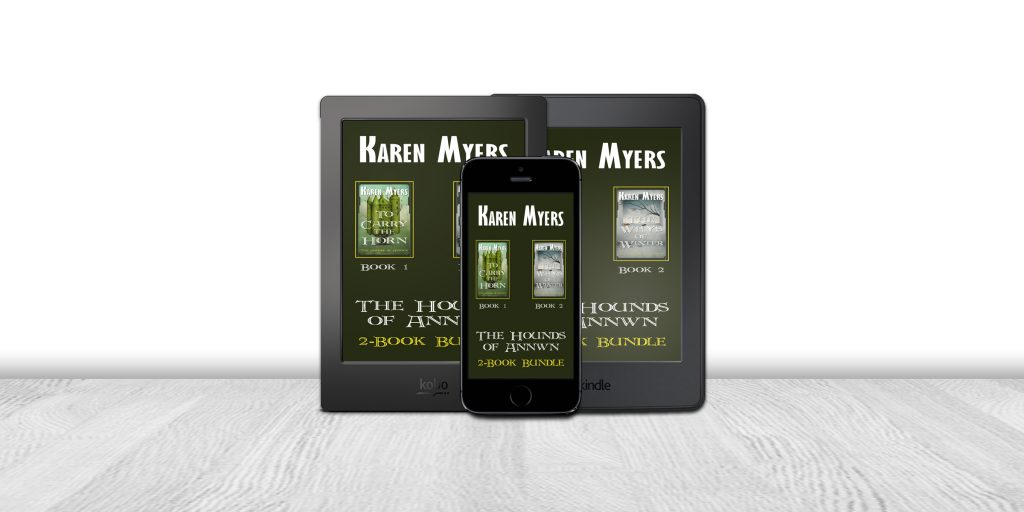 Display of available formats for The Hounds of Annwn (1-2), a book bundle of To Carry the Horn and The Ways of Winter. Written by Karen Myers (HollowLands.com). Published by Perkunas Press (PerkunasPress.com).