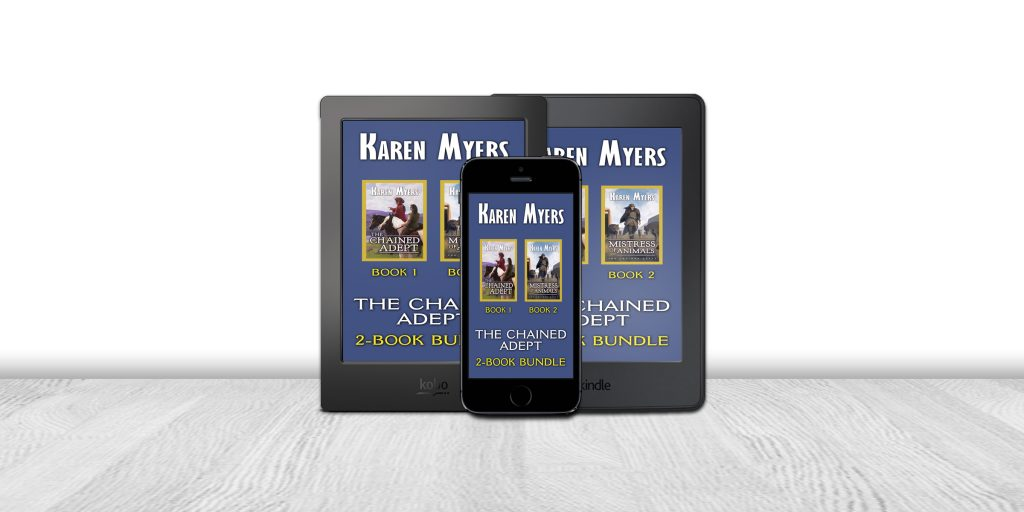 Display of available formats for The Chained Adept (1-2), a book bundle of The Chained Adept and Mistress of Animals. Written by Karen Myers (HollowLands.com). Published by Perkunas Press (PerkunasPress.com).